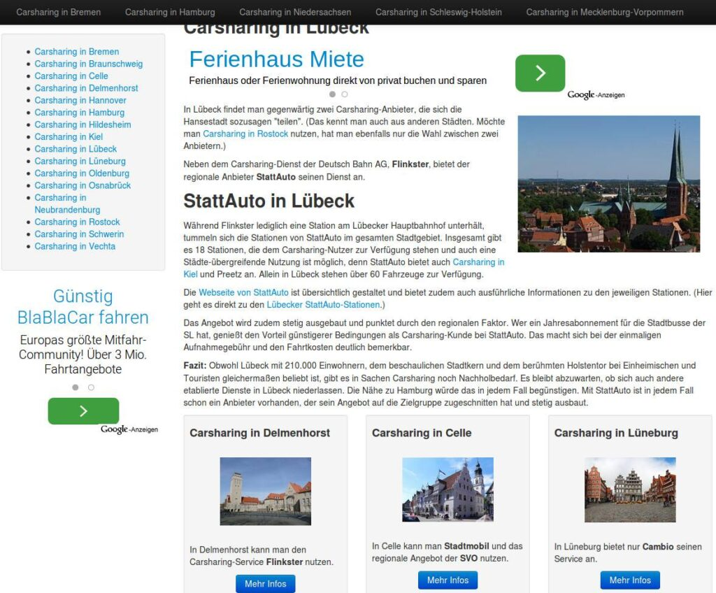 Carsharing-Seite in altem Design (Bootstrap, 2013)